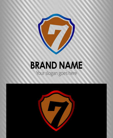 number 7 company icon design template Vector