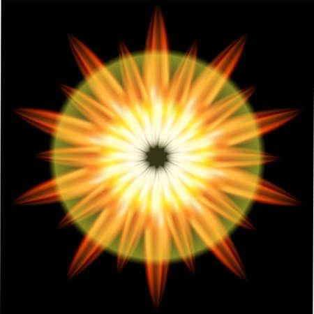 emanation: Ray Burst red and orange fire dark background