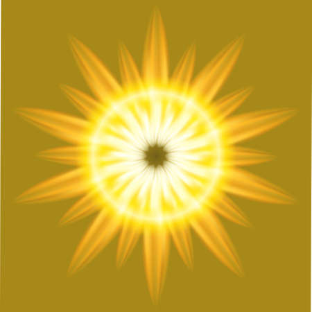 emanation: Ray Sunrise Burst fire circle yellow background Illustration