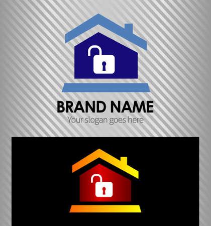 icone immobilier: Immobilier mod�le de conception ic�ne avec maison et d�verrouillage ic�ne