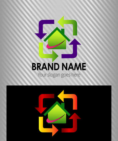 real estate sign: Real estate sign icon design template with house and arrow