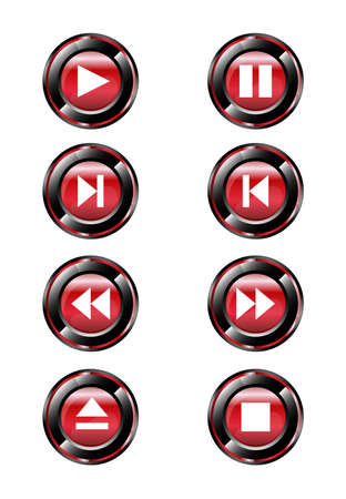 satined: Red round media player buttons and audio player isolated on background