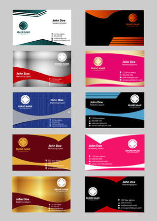 Set of 10 professional horizontal business cards or visiting cards Vector