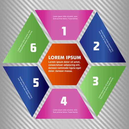 with sets of elements: Set of polygon infographic elements, with provided are 1, 2, 3, 4, 5, 6 parts polygon sets