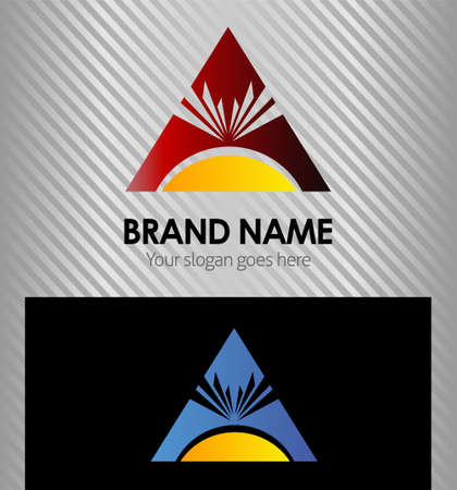 ray of light: Triangle symbol and sun ray light Illustration