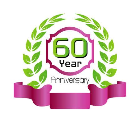 60th: 60 year birthday celebration, 60th anniversary Illustration