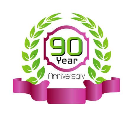 90: 90 year birthday celebration, 90th anniversary Illustration
