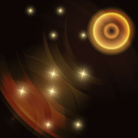 Abstract circle gold Vector dark Background Illustration