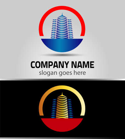 vector 3d building, apartment, offices logo isolated Vector