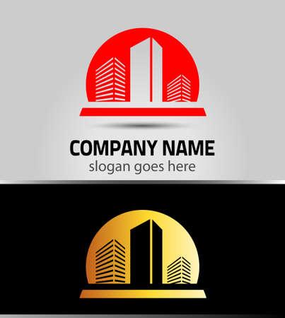 logo batiment: bâtiment vecteur logo coloré construction isolée