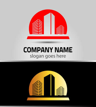 vector building logo colorful construction isolated Illustration