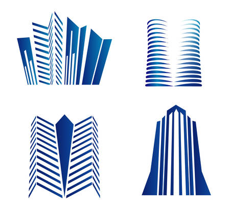 letting: Set of dimensional buildings icons