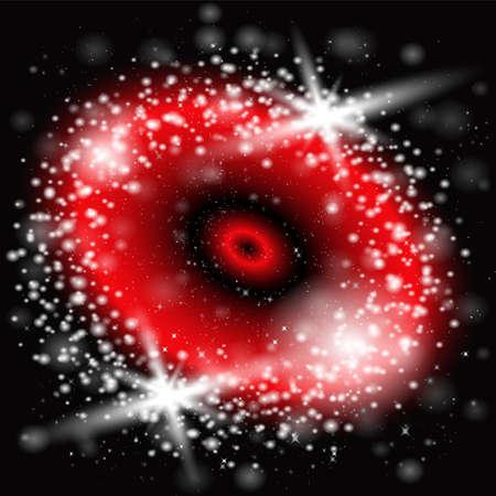 semaforo rosso: Estratto luce rossa cielo nero fondo vettore Vettoriali