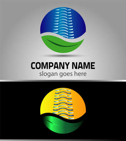 Creative building construction, leaf eco for your company, skyscrapers, offices Vector