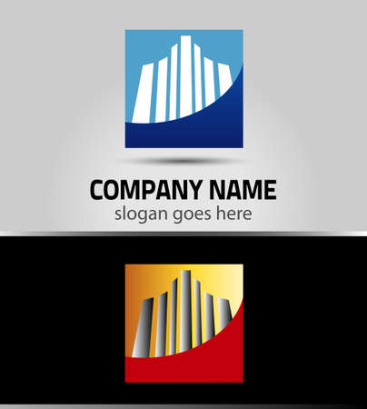 commercial real estate: Real estate company sign. design with commercial building