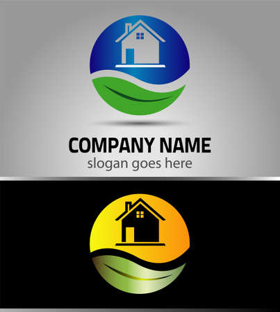 landscape architecture: Eco home sign Branding Identity Corporate vector logo design template Illustration