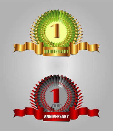 1 year anniversary: Anniversary with laurel wreath, 1 year