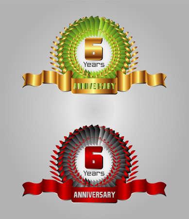 6 years: Celebration Anniversary golden laurel wreath, 6 years