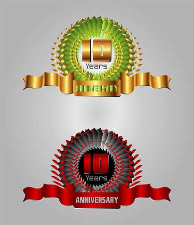 10th: Anniversary 10 years vector set Illustration