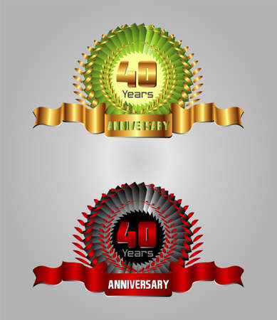40 year anniversary golden label, 8th anniversary decorative red Vector