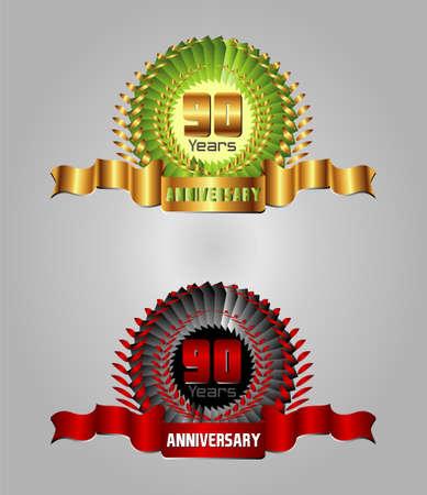 90 years: 90 anni di anniversario vettore celebrazione Vettoriali
