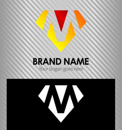 文字 M ロゴ アイコンのデザイン テンプレート要素  イラスト・ベクター素材