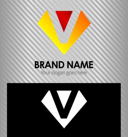 diamonds isolated: Letter V logo vector alphabet shape concept type as logo v Illustration