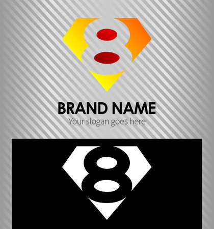 Logo number 8 company eight icon design template Vector