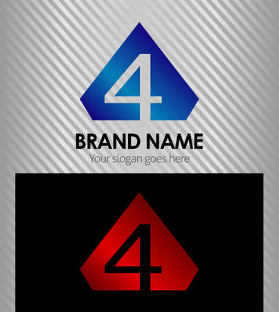Abstract icons for number 4 logo Vector