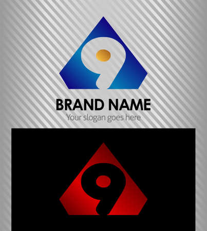 Abstract nine icon number 9 logo Vector