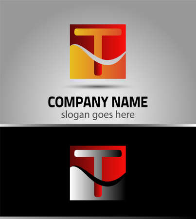 t square: Letter T logo symbol template elements Illustration