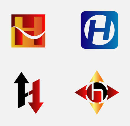 h: Letter H icon template set Illustration