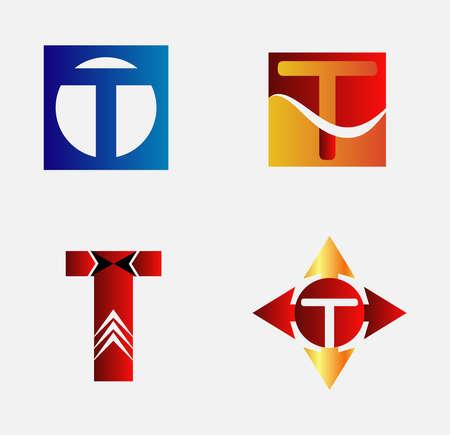 Alphabetical Logo Design Concepts. Letter T set