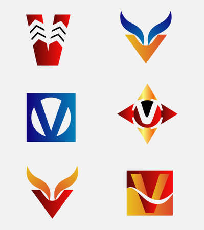 alphabetical: Alphabetical Design Concepts. Letter V set Illustration