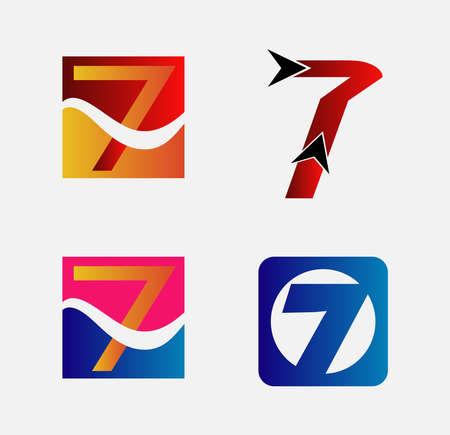 number seven: Number seven 7  icon template elements Illustration