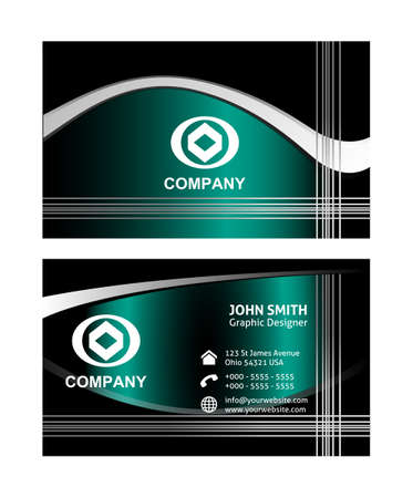 business cards: Wave business cards templates Illustration