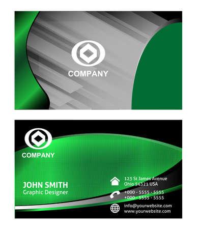 plantilla para tarjetas: Plantilla de tarjeta de visita verde Vectores