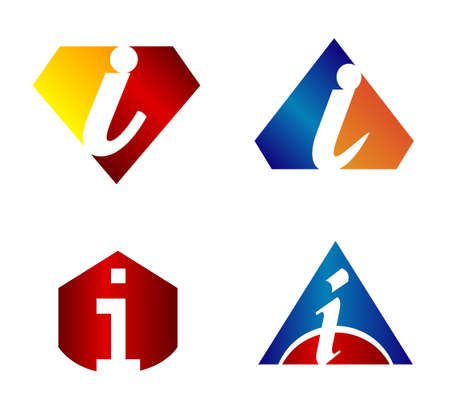 abstract letters: Vector illustration of abstract icons based on the letter i Illustration