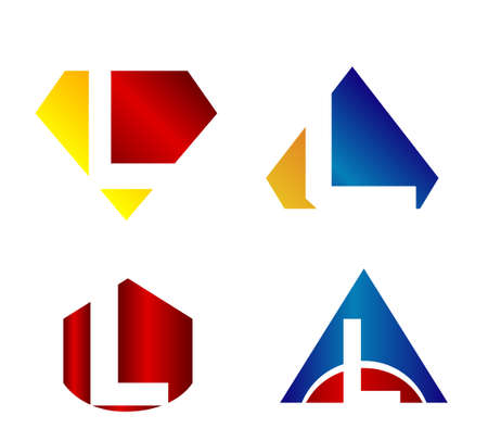 l: Vector illustration of abstract icons based on the letter L