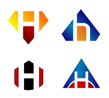 diamond letter: Vector illustration of abstract icons based on the letter H
