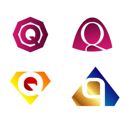 q: Vector letter Q set