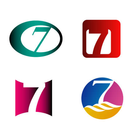 seven: Number seven template. Abstract icon
