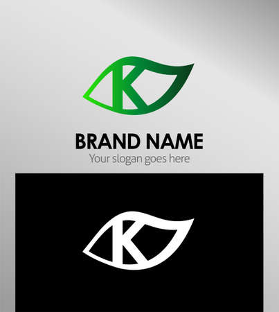 Leaf icon Design Concepts. Letter k