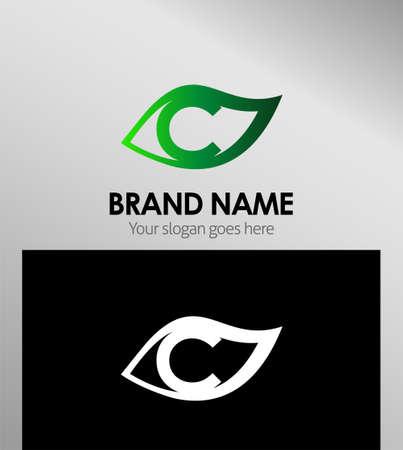 Leaf icon Design Concepts. Letter C Ilustração