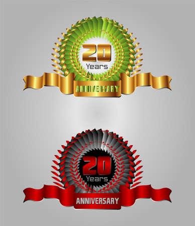 20: 20 year anniversary golden label, red decorative 8th anniversary Illustration
