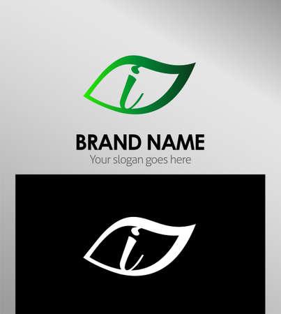 typesetter: Logo Design Concepts Leaf icon. Letter I Illustration