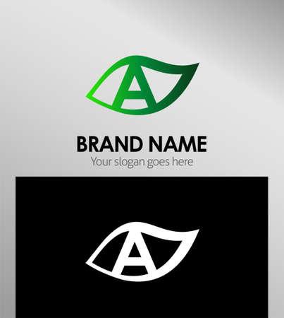 typesetter: Logo Design Concepts Leaf icon. Letter A