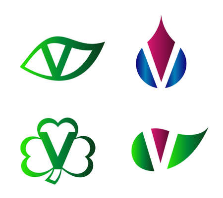 labirinth: Vector alphabet Letter V Logo template design element