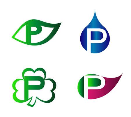 p buildings: Letter P logo. Logotype design vector set Alphabet Illustration