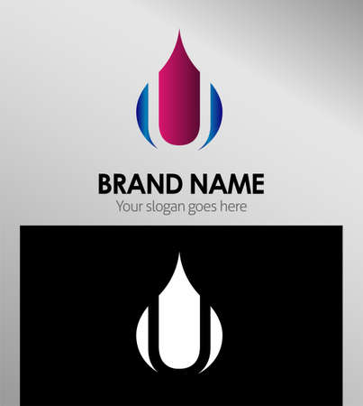 set symbols: Abstract icons based on the letter U logo Illustration